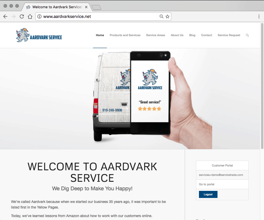 service portal online service account powered by servicetrade