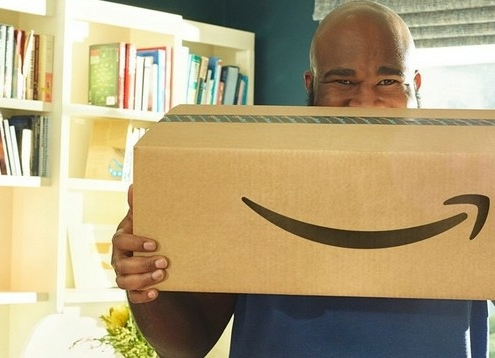 happy amazon customer receives amazon box delivery